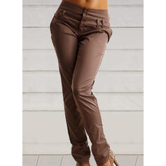Solid Shirred Plus Size Casual Vintage Pants