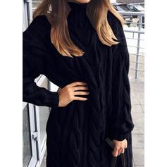 Düz / Tek (Renk) Saç Örgüsü Rolák Neformální Dlouhé Svetrové šaty