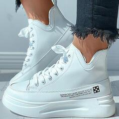 Femmes PU Talon plat Chaussures plates avec Dentelle Couleur unie chaussures