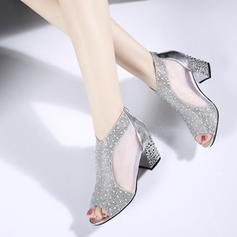 Pentru Femei PU Toc gros Sandale Puţin decupat în faţă cu Altele pantofi