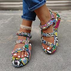 De mujer Cuero Tacón plano Sandalias Encaje con Estampado de animales zapatos