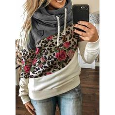 Цветной блок Цветочный леопард Длинные рукова Толстовка с капюшоном