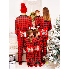 Bear Kostkovaný Dopis Tisk Rodinné odpovídající Vánoční pyžama