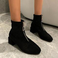 Dámské Semiš Široký podpatek Boty Kotníkové Boty S Solid Color obuv