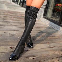 Donna PU Tacco spesso Stivali sopra il ginocchio Punta rotonda con Increspato Colore solido scarpe