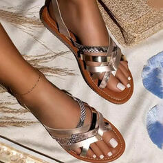 Women's PU Flat Heel Sandals Flip-Flops Slippers With Animal Print Hollow-out shoes
