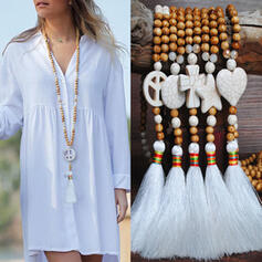 Hermoso De moda Exótico Crystal Los granos de madera con Borlas Collares