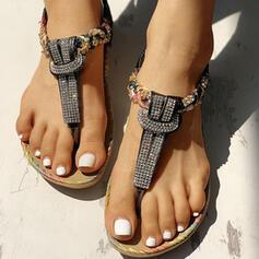 Women's PU Flat Heel Sandals Flats Peep Toe Flip-Flops With Sequin shoes