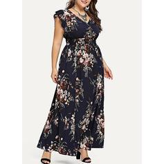 Duży rozmiar Kwiatowy Nadruk Krótkie rękawy Sukienka Trapezowa Maxi Nieformalny Elegancki Sukienka