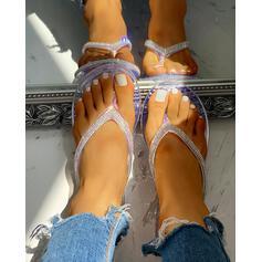 Women's PVC Flat Heel Sandals Peep Toe Slippers With Rhinestone shoes