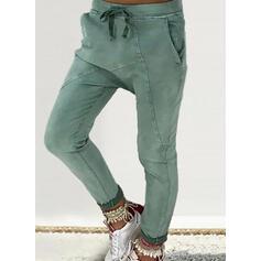 Nášivky Plus velikost Šňůrka Dlouho Neformální Pevný Kalhoty