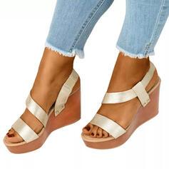 De mujer PU Tipo de tacón Plataforma Cuñas Encaje con Color sólido zapatos