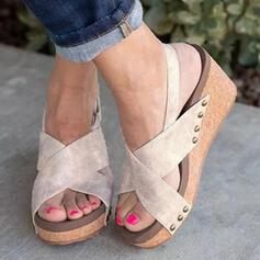 De mujer PU Tipo de tacón Sandalias con Velcro zapatos