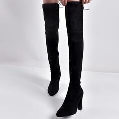 Donna Camoscio Tacco a spillo Stivali sopra il ginocchio con Cerniera scarpe