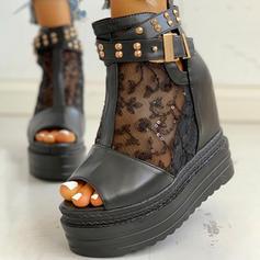 De mujer Malla PU Tipo de tacón Sandalias Encaje con Rivet Hebilla Agujereado zapatos
