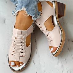 De mujer PU Tacón ancho Encaje con Cremallera zapatos