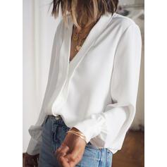 Solido Scollatura a V Maniche lunghe Casuale Basico Camicie
