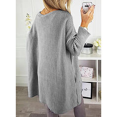 Solid Chunky knit Round Neck Oversized Casual Long Sweater Dress