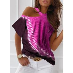 Tie Dye One-Shoulder Short Sleeves Casual Blouses