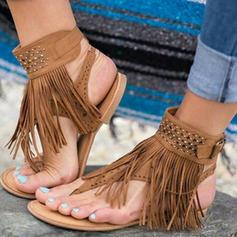 De mujer Ante Tacón plano Sandalias Planos con Borla zapatos