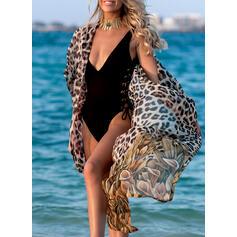 Leopardo Impresión Cuello en V Sexy Hermoso Pareo Trajes de baño