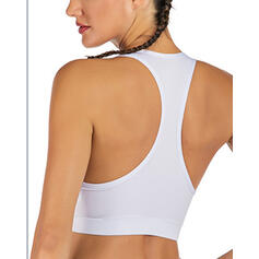 Cuello en V Sin mangas Color sólido Sujetadores deportivos