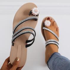De mujer PU Tacón plano Sandalias Encaje Pantuflas con Rhinestone Perlas de imitación zapatos
