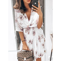 Print/Floral 1/2 Sleeves A-line Knee Length Casual Wrap/Skater Dresses