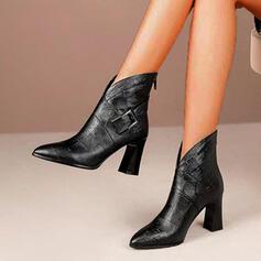 Donna PU Tacco spesso Stivali alla caviglia Punta a punta con Fibbia Cerniera Allacciato scarpe