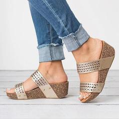 PU Wedge Heel Sandals Platform Wedges Peep Toe Slippers Heels With Others shoes