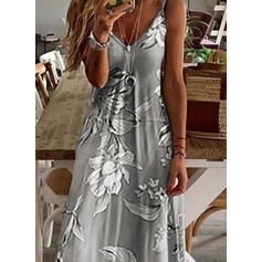 Print/Floral Sleeveless Shift Slip Casual/Boho/Vacation Maxi Dresses