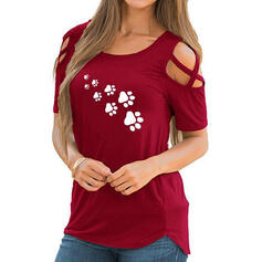 Animal Print Round Neck Short Sleeves Casual Knit Blouses