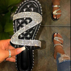 Kvinder PU Flad Hæl sandaler Fladsko Kigge Tå Tøfler med Rhinsten Mousserende Glitter sko