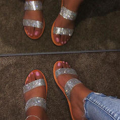 Kvinnor PU Flat Heel Sandaler Platta Skor / Fritidsskor Peep Toe Tofflor med Strass skor
