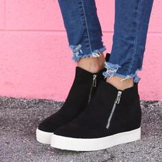 Dla kobiet Zamsz Płaski Obcas Kozaki Round Toe Z Zamek błyskawiczny obuwie