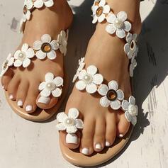 De mujer PU Tacón plano Sandalias Planos Anillo del dedo del pie con Flor zapatos