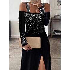 印刷 スパンコール 長袖 冷たい肩の袖 シースドレス エレガント ミディ ドレス