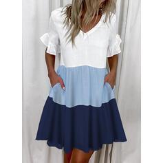 Color-block 1/2 rukávy Splývavé Nad kolena Neformální Tunika Šaty