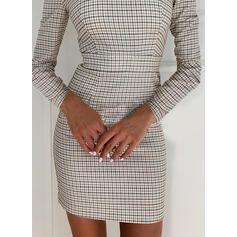 Kostkovaný Dlouhé rukávy Přiléhavé Nad kolena Elegantní Šaty