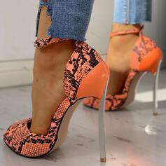 Mulheres PU Salto agulha Bombas com Fivela Animal da Cópia sapatos