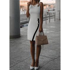 Jednolita Bez rękawów Bodycon Długośc do kolan Elegancki Sukienki