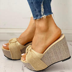 De mujer PU Tipo de tacón Sandalias Cuñas Encaje Pantuflas Tacones con Bowknot zapatos