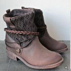 Pentru Femei Imitaţie de Piele Toc jos Încălţăminte cu Toc Înalt Cizme cu Bretea Împletită pantofi