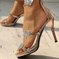 PU Ψηλό τακούνι Σανδάλια Γοβάκια Ανοιχτά σανδάλια toe Με Φερμουάρ παπούτσια
