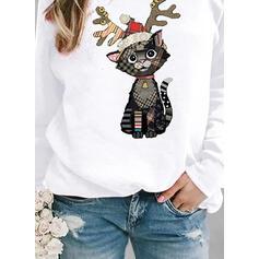 halloween Tisk Kostkovaný Zvíře Kulatý Výstřih Dlouhé rukávy Vánoční mikina