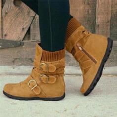 Vrouwen PU Flat Heel Laarzen Enkel Laarzen Snowboots Winterlaarzen met Gesp schoenen