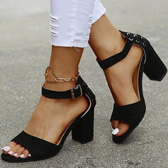 Women's PU Chunky Heel Sandals Pumps Low Top With Buckle Lace-up Solid Color shoes