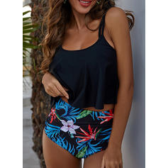 Floral High Waist Strap Sexy Bohemian Tankinis Swimsuits