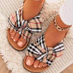 Kvinnor Duk Flat Heel Sandaler Platta Skor / Fritidsskor Peep Toe Tofflor rund tå med Bowknot Skarvfärg Randig skor