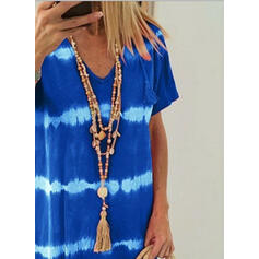 Tie Dye Short Sleeves Shift Knee Length Casual/Vacation T-shirt Dresses